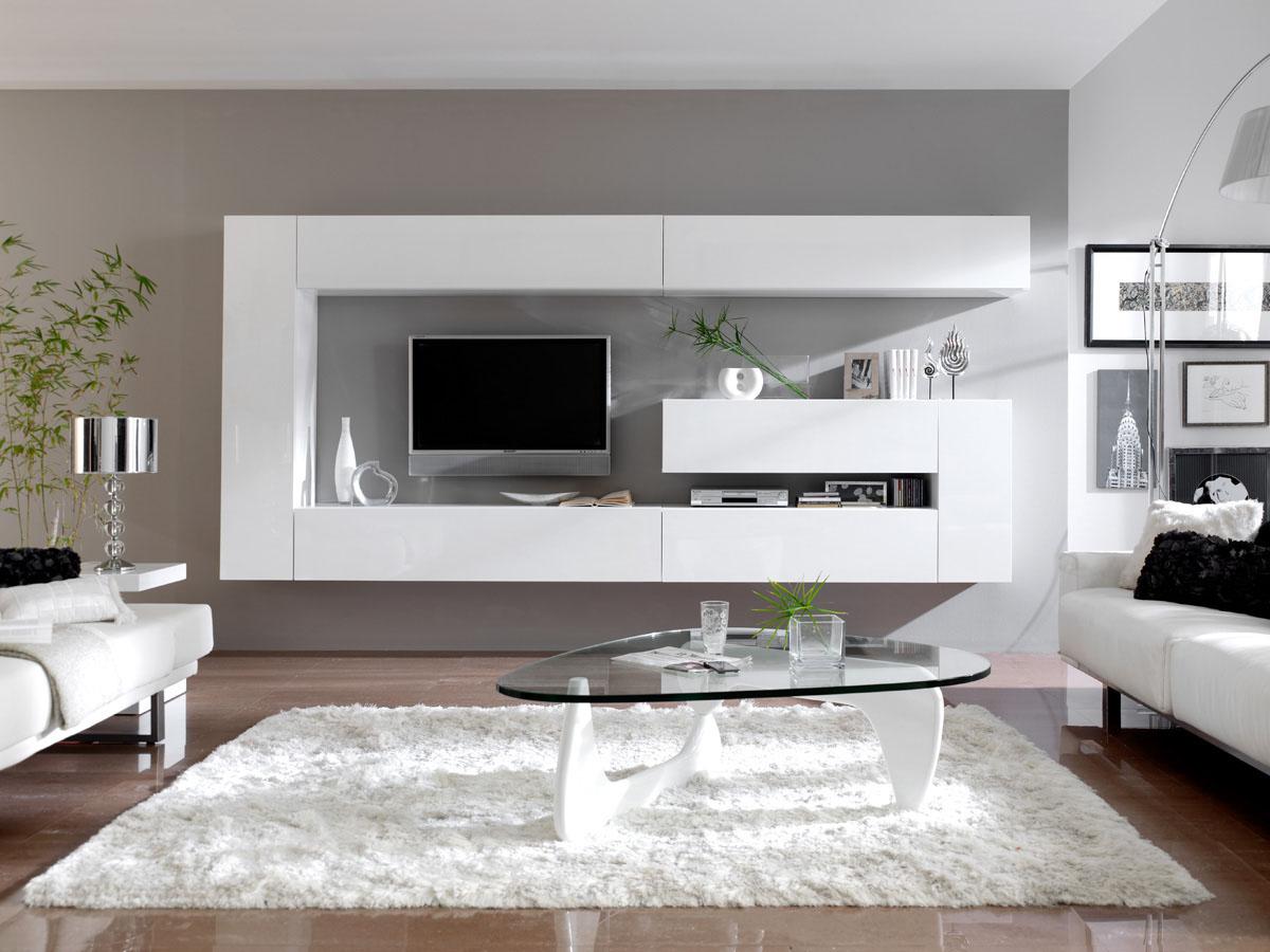 Ensemble 7 meubles TV modulables Dublin - Blanc laqué
