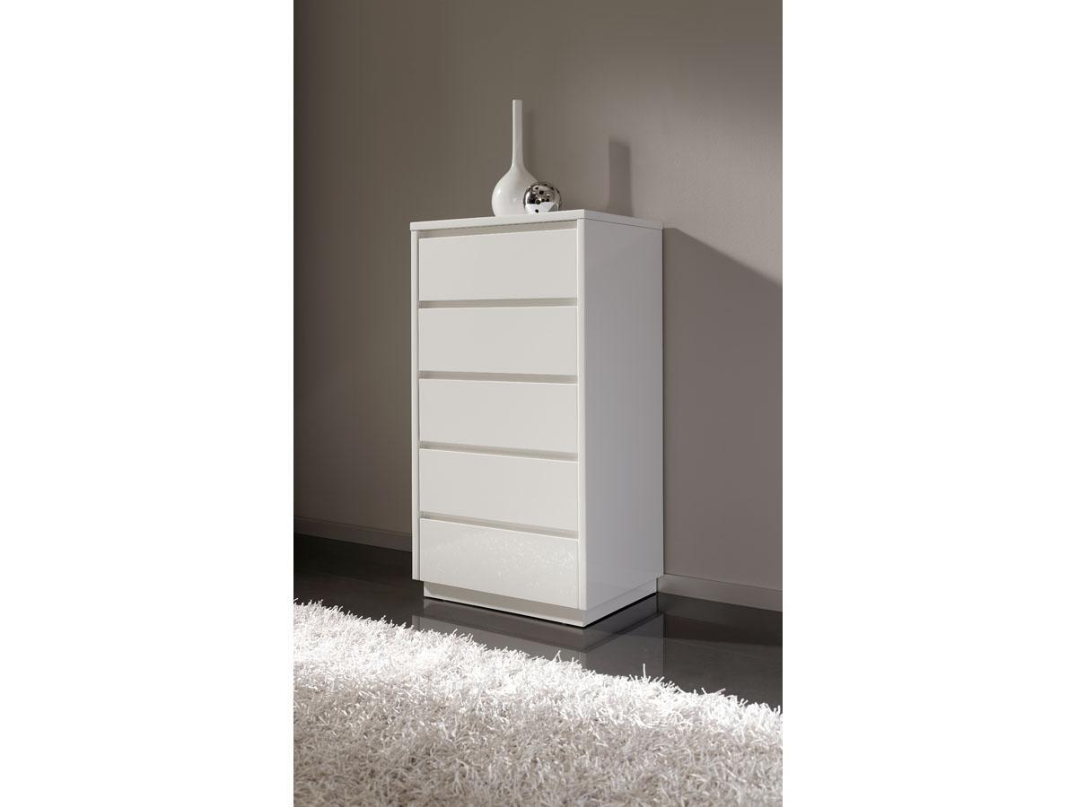 Chiffonnier Adélie - 61 x 45 x 112 cm - 5 tiroirs - Coloris blanc brillant