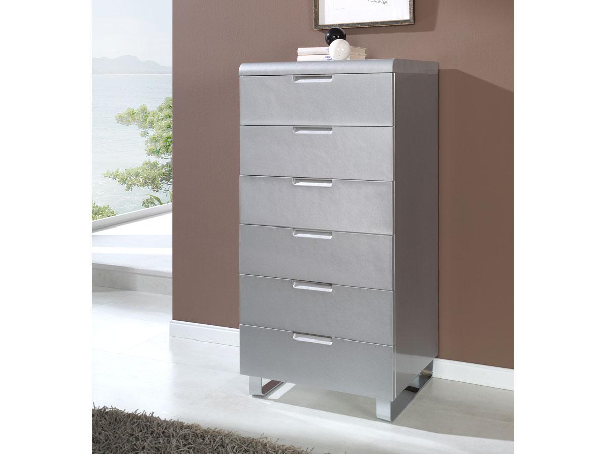 Chiffonnier Elodie - 60 x 39 x 118 cm - 6 tiroirs - Coloris argent