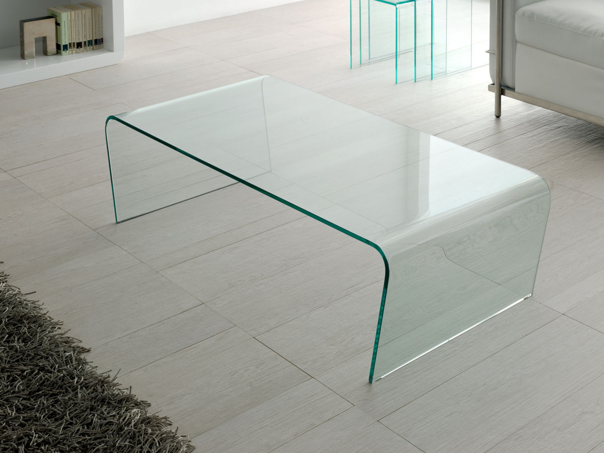 Table basse verre Claire - 120 x 60 x 35 cm - Transparent