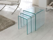 "Lot de 3 tables basses ""Irène"" - 42 x 42 x 42 cm - Transparent"