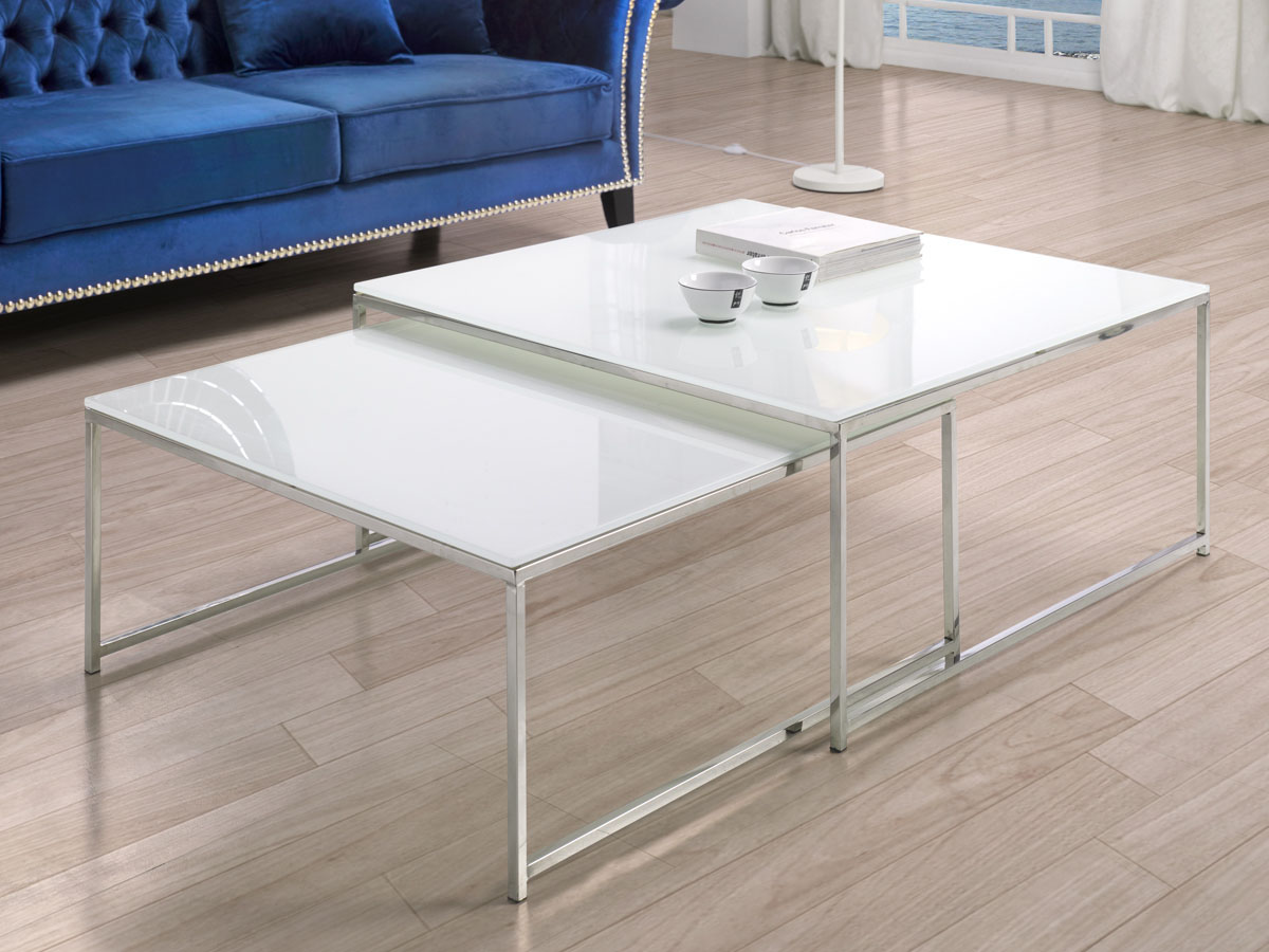 Lot de 2 tables basses Lily - 90 x 90 x 40 cm - Transparent