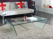 "Table basse verre ""Delhi"" - 120 x 70 x 35 cm - Transparent"
