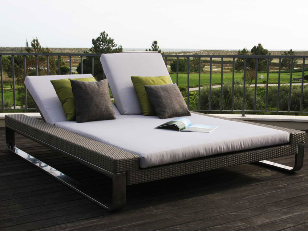 Camping bed double - Bain De Soleil Quot Attitude Double Sun Bed Quot Coloris Silver Brushed