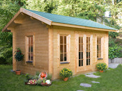 "Abri jardin bois "" Lugano "" - 12.60m² - 4.20 x 3.00 x 2.96 m - 45 mm"