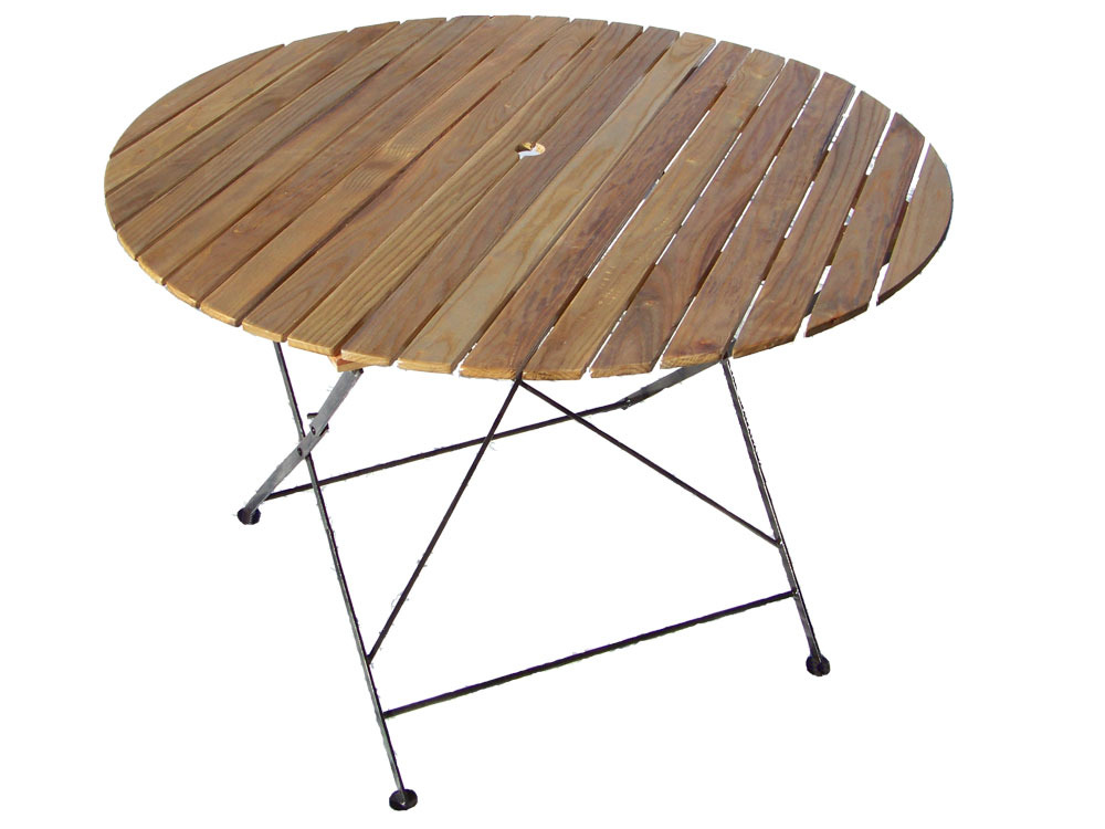 "Table De Jardin - Table Ronde Pliante ""Bistrot"" - Diam 106 X H 72"