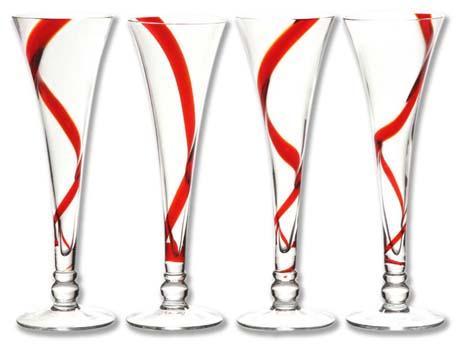 """Flutes """"Spirale"""" rouge - Lot de 4"""