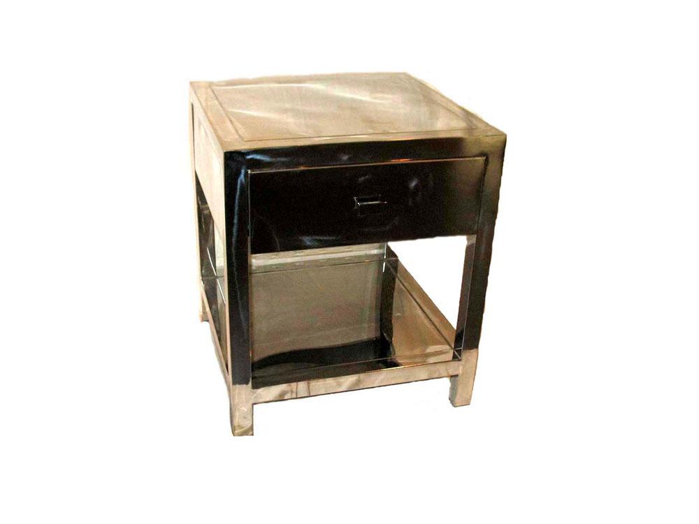table de chevet en acier inoxydable l 60 x l 40 x h 60. Black Bedroom Furniture Sets. Home Design Ideas