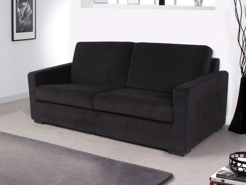 Canap convertible michigan couchage 140 x 190 cm noir 64201 - Canape convertible couchage 140 ...