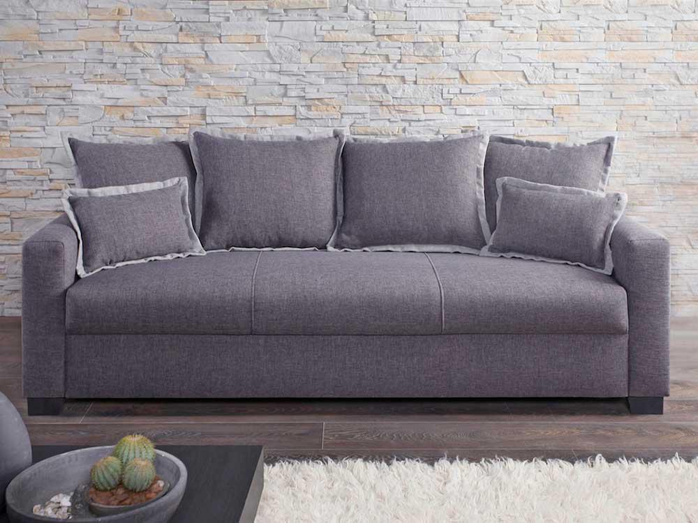 canape clara fixe 3 places anthracite et gris clair 65377. Black Bedroom Furniture Sets. Home Design Ideas