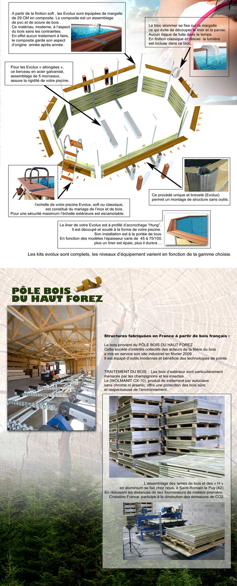 Structure bois fabriqu en france for Piscine evolux