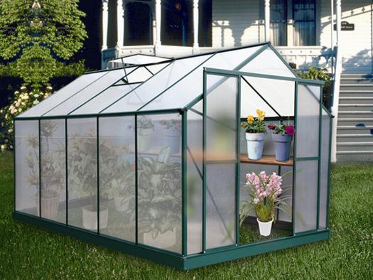 Serre jardin polycarbonate dahlia vert sapin 9 m2 52393 - Serre polycarbonate 9m2 ...