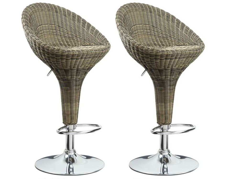 lot de 2 tabourets de bar don pvc imitation osier 52992