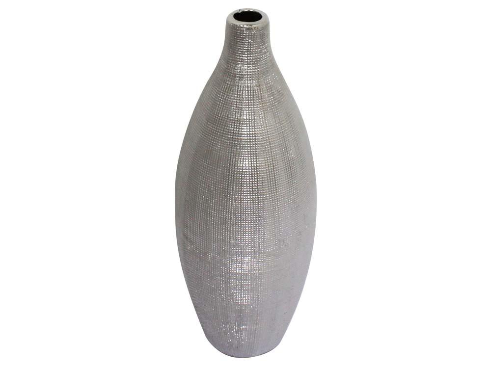 vase eros en c ramique couleur argent h 28cm 53758. Black Bedroom Furniture Sets. Home Design Ideas