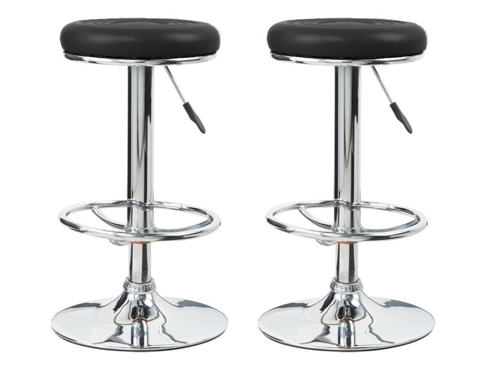 Lot de 2 tabourets de bar tony noir en simili cuir 52986 52987 - Tabouret bar habitat ...