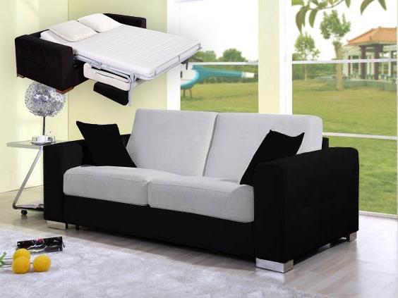 canap convertible rapide 3 places sofia noir et gris 52363. Black Bedroom Furniture Sets. Home Design Ideas