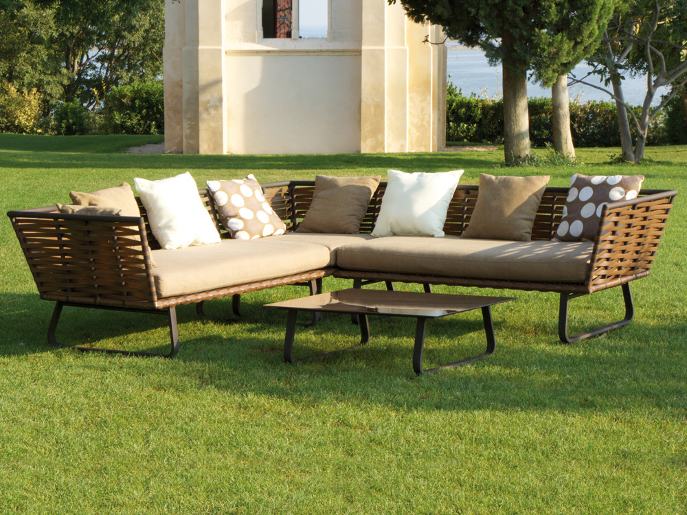 salon de jardin horizon 2 banquettes 1 table basse 59624. Black Bedroom Furniture Sets. Home Design Ideas