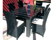 """Table de jardin """"Lounge"""" 6 couverts - Résine tressée - 180 x 100"""