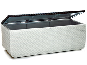 Coffre de rangement prahia coloris blanc chocolat 52366 - Coffre de rangement exterieur ikea ...