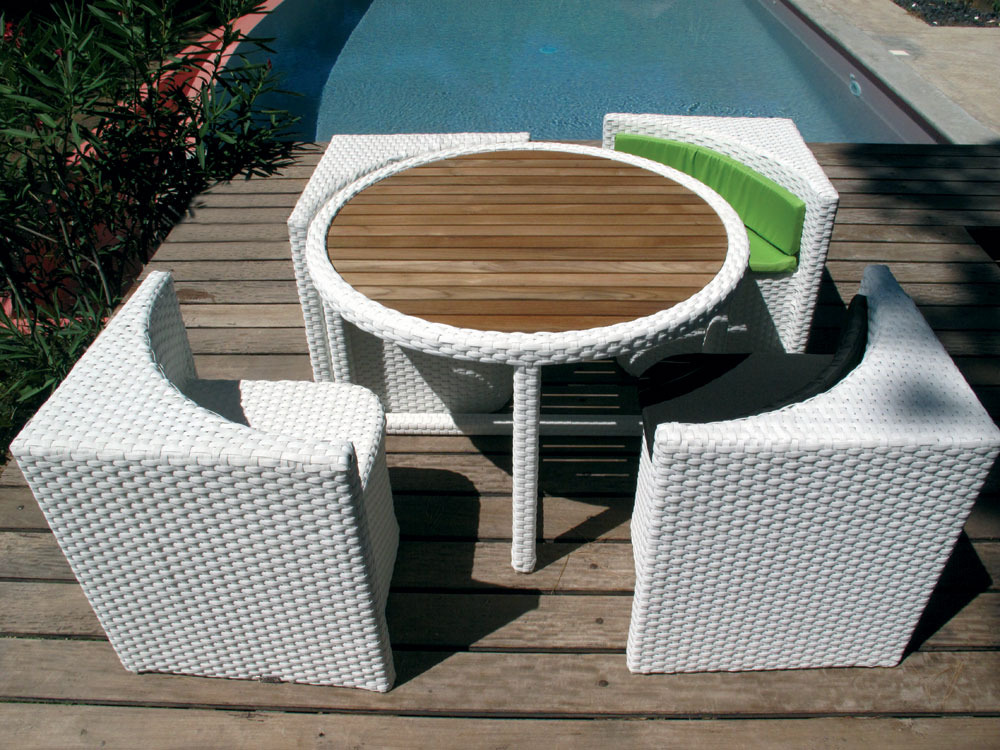 Salon de jardin quattro blanc 4 places 52373 52374 - Salon de jardin table ronde ...