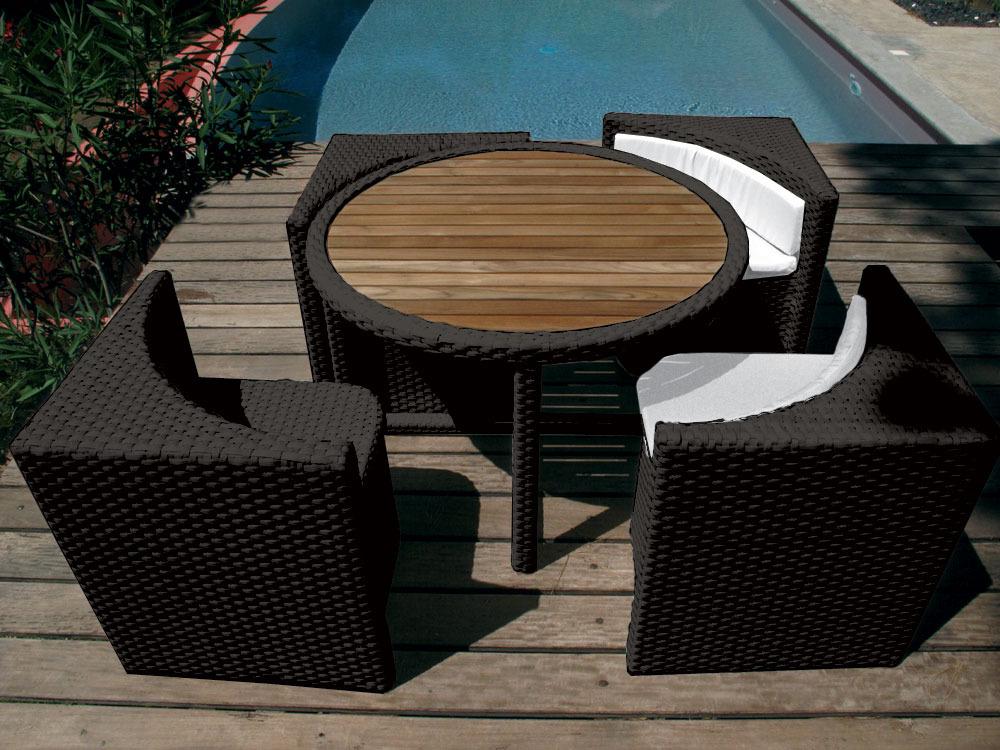 Salon de jardin Quattro noir - 4 places
