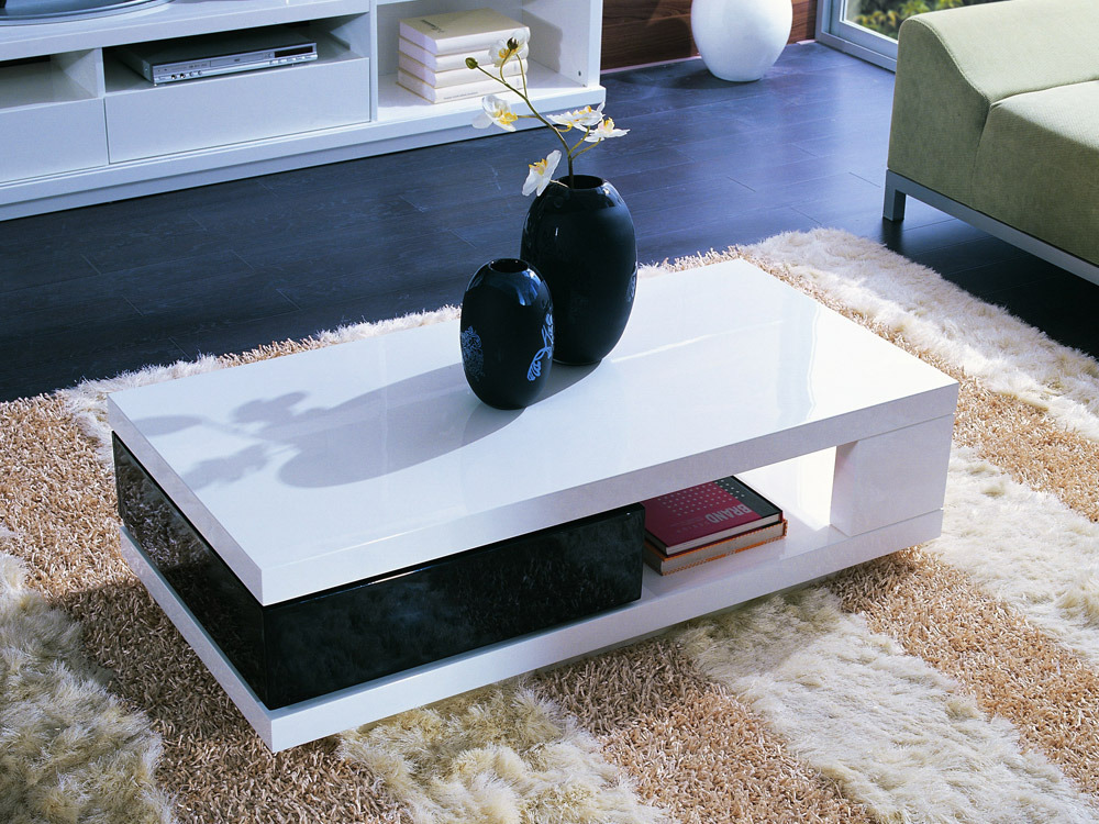table basse rectangulaire mila en mdf laqu noir et blanc 56775. Black Bedroom Furniture Sets. Home Design Ideas