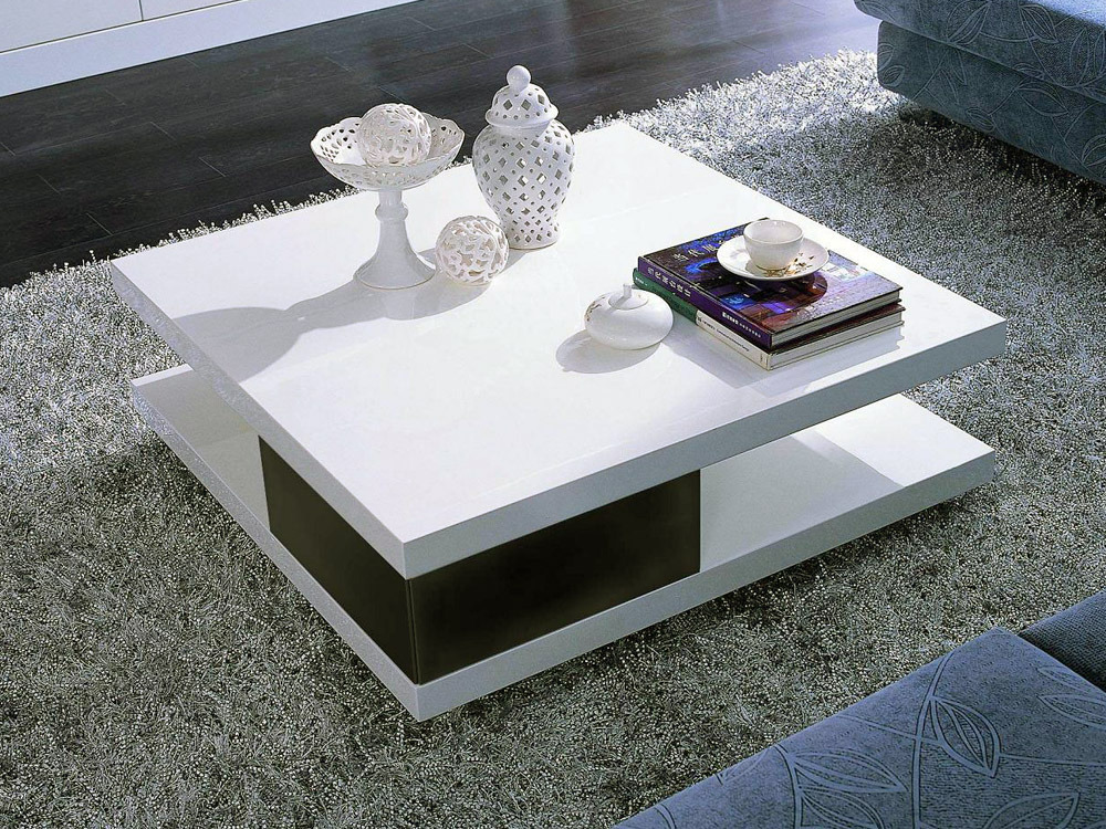 Table basse carr e moli en mdf laqu noir et blanc 56777 - Table de salon laque blanc ...