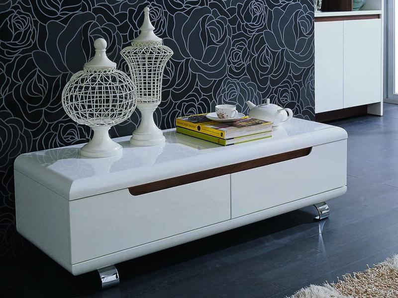 Meuble tv 120 cm blanc meuble chaine hifi bois