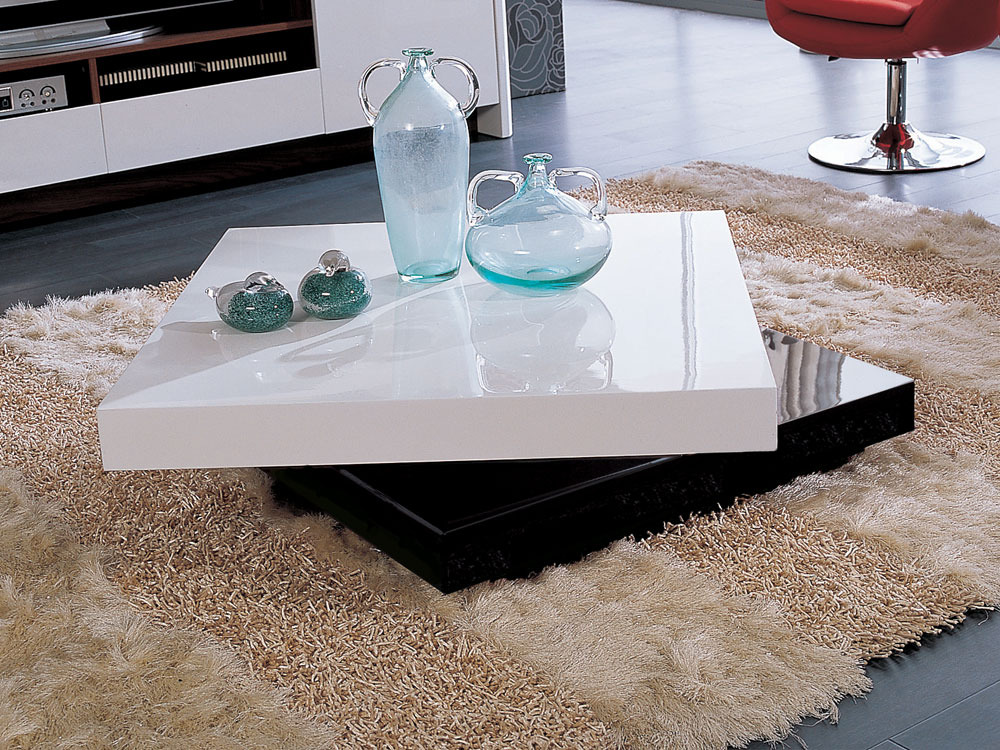 Table basse rectangulaire camy en mdf laqu blanc et - Table de salon laque blanc ...