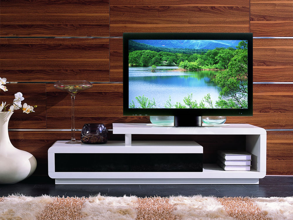 meuble tv rectangulaire tamatia en mdf laqu blanc et noir 56812. Black Bedroom Furniture Sets. Home Design Ideas