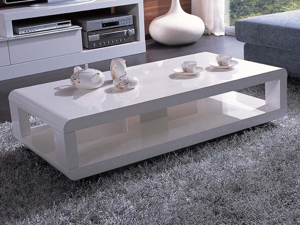 Table basse rectangulaire carlina mdf laqu blanc 53664 - Table de salon laque blanc ...