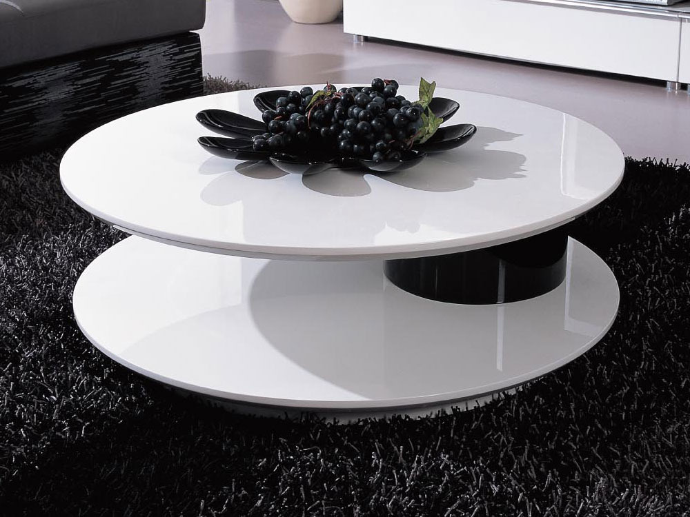 Table basse ronde flavum mdf laqu blanc noir 56891 - Table de salon ronde laquee blanc ...