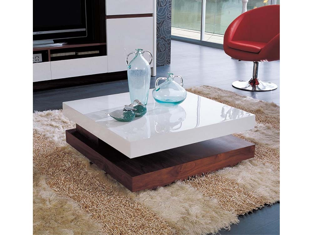 Table basse carr e fumaria mdf laqu blanc placage de - Table de salon laque blanc ...