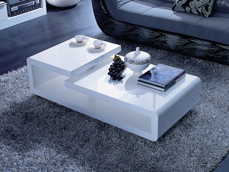 table basse rectangulaire morio mdf laqu blanc 53666. Black Bedroom Furniture Sets. Home Design Ideas