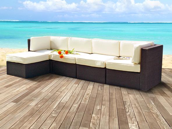 Salon de jardin modulable en résine tressée couleur marron - 4 ...