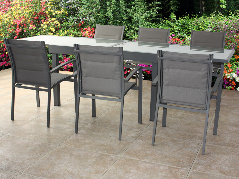 Salon de jardin couleur anthracite structure aluminium for Table en verre 6 chaises
