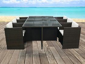 Salon de jardin en résine tressée marron - table plateau verre + 6 ...