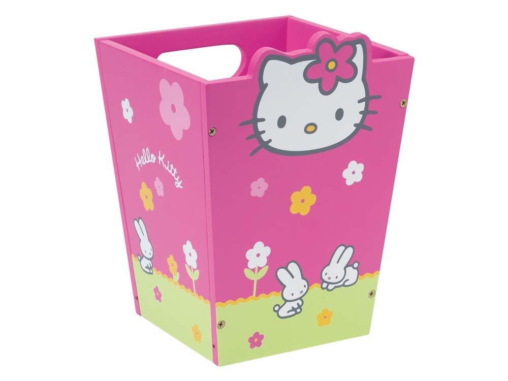 corbeille papier enfant en laqu hello kitty rose et vert 53509. Black Bedroom Furniture Sets. Home Design Ideas
