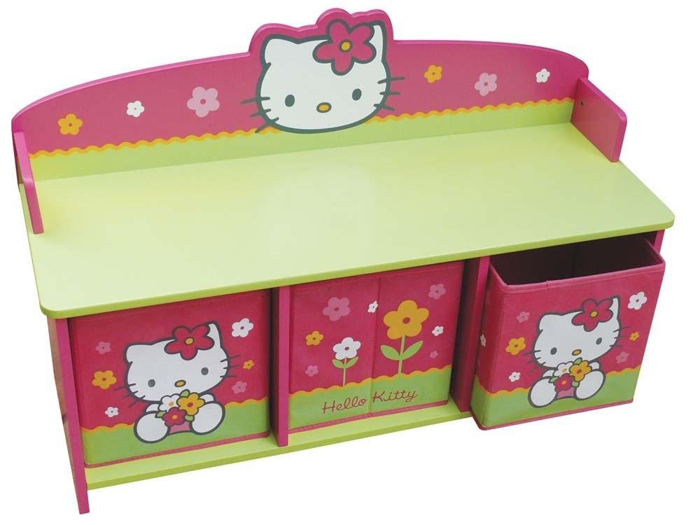 banc avec bacs de rangement enfant en laqu hello kitty rose et vert 53480. Black Bedroom Furniture Sets. Home Design Ideas