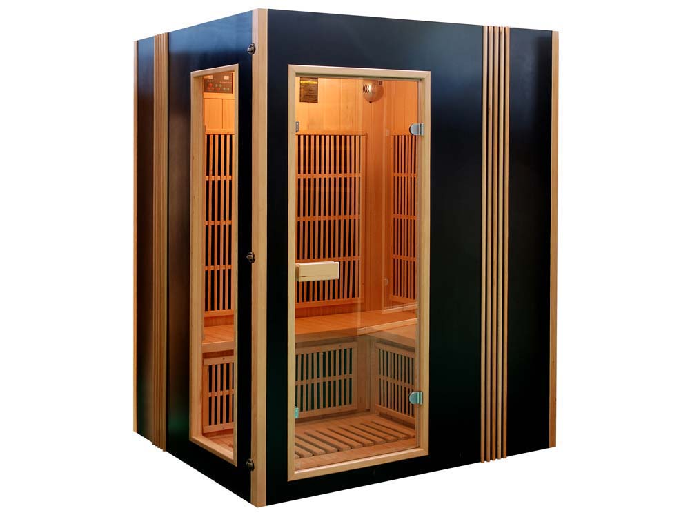 cabine de sauna infrarouge 4pl finland avec chronoth rapie 65117. Black Bedroom Furniture Sets. Home Design Ideas