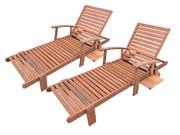 Bain de soleil pliant en bois exotique  Tokyo  - Maple - Marron clair - Lot de 2