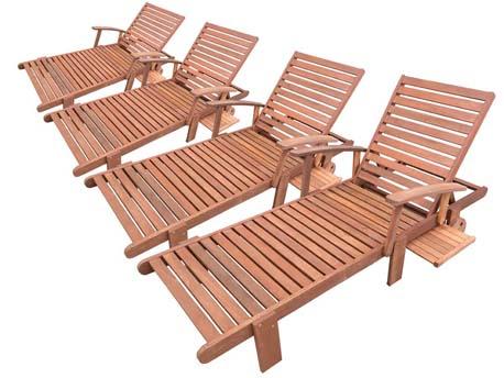"""Bain de soleil pliant en bois exotique """"Tokyo"""" - Maple - Marron clair - Lot de 4"""