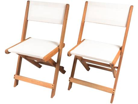 "Chaise pliante en bois exotique ""Seoul"" - Maple - Beige - Lot de 2"