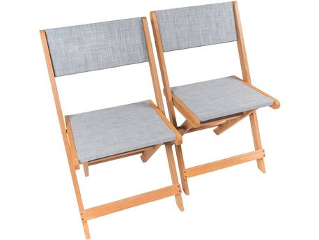 "Chaise pliante en bois exotique ""Seoul"" - Maple - Gris - Lot de 2"