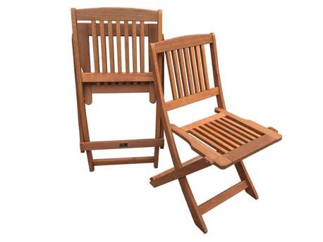 "Chaise jardin pliante en bois exotique ""Hongkong"" - Maple - Marron clair - Lot de 2"