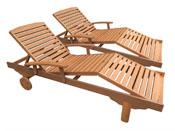 """Bain de soleil pliant en bois exotique """"Singapour"""" - Maple - Marron clair - Lot de 2"""