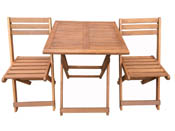 """Salon de jardin en bois exotique Hanoï - """"Maple"""" - Marron clair - Table pliante carrée 60 x 60 x 74 cm + 2 chaises pliantes"""