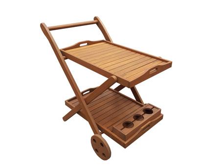"""Desserte en bois exotique Manille - """"Maple"""" - Marron clair - Chariot de service"""