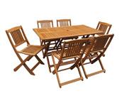 "Salon de jardin bois exotique ""Hongkong"" 6 chaises - Maple - Marron clair"