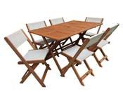 """Salon de jardin repas """"Séoul"""" - 1 Table + 6 chaises - Maple - Beige"""